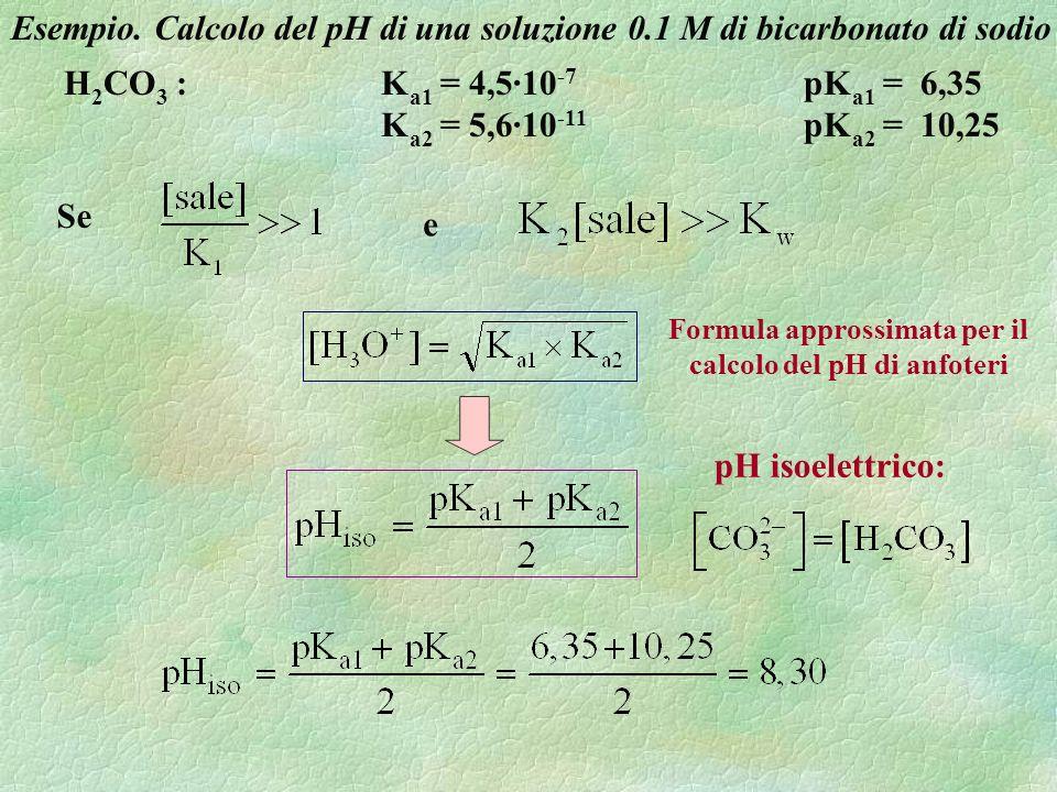 H 2 CO 3 :K a1 = 4,5·10 -7 pK a1 = 6,35 K a2 = 5,6·10 -11 pK a2 = 10,25 Esempio. Calcolo del pH di una soluzione 0.1 M di bicarbonato di sodio Se e pH