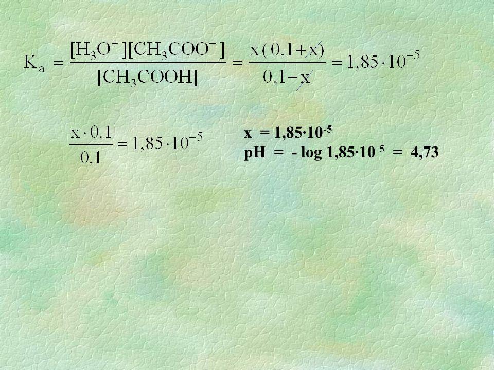 x = 1,85·10 -5 pH = - log 1,85·10 -5 = 4,73