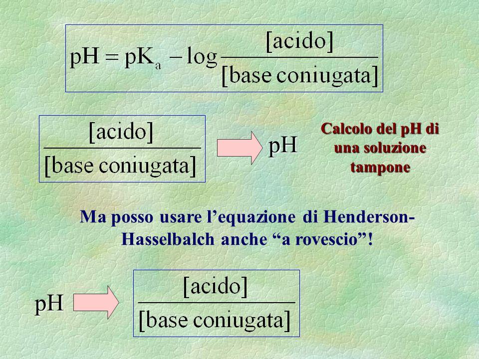 Calcolo del pH di una soluzione tampone pH Ma posso usare lequazione di Henderson- Hasselbalch anche a rovescio.
