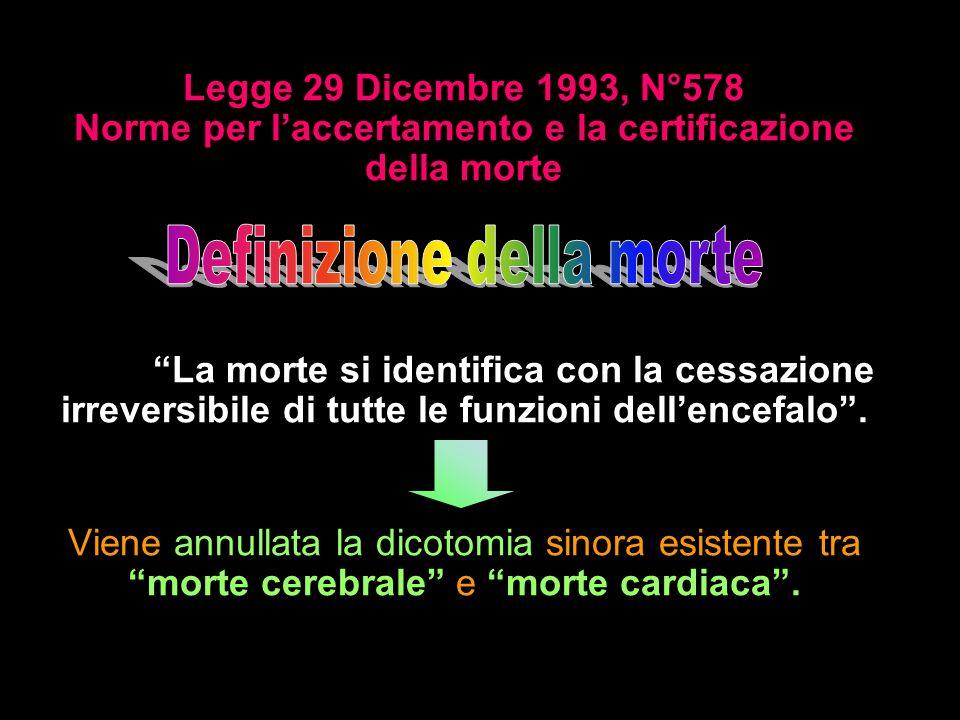 Legge 29 Dicembre 1993, N°578 Norme per laccertamento e la certificazione della morte Art.1: La morte si identifica con la cessazione irreversibile di