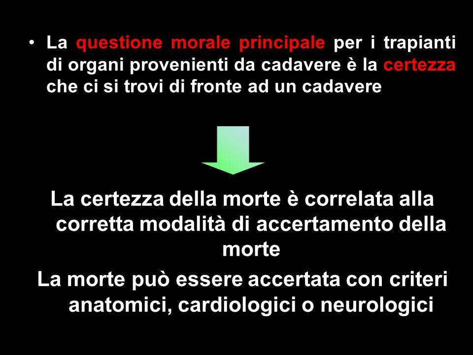 La questione morale principale per i trapianti di organi provenienti da cadavere è la certezza che ci si trovi di fronte ad un cadavere La certezza de