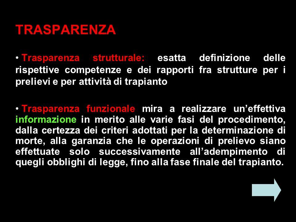 TRASPARENZA Trasparenza strutturale: esatta definizione delle rispettive competenze e dei rapporti fra strutture per i prelievi e per attività di trap