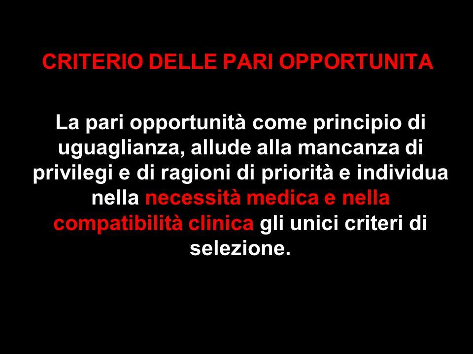 CRITERIO DELLE PARI OPPORTUNITA La pari opportunità come principio di uguaglianza, allude alla mancanza di privilegi e di ragioni di priorità e indivi