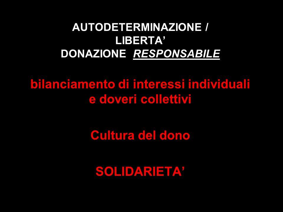 AUTODETERMINAZIONE / LIBERTA DONAZIONE RESPONSABILE bilanciamento di interessi individuali e doveri collettivi Cultura del dono SOLIDARIETA