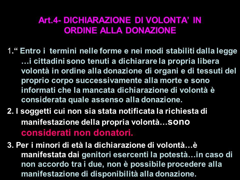 Art.4- DICHIARAZIONE DI VOLONTA IN ORDINE ALLA DONAZIONE 1. Entro i termini nelle forme e nei modi stabiliti dalla legge …i cittadini sono tenuti a di