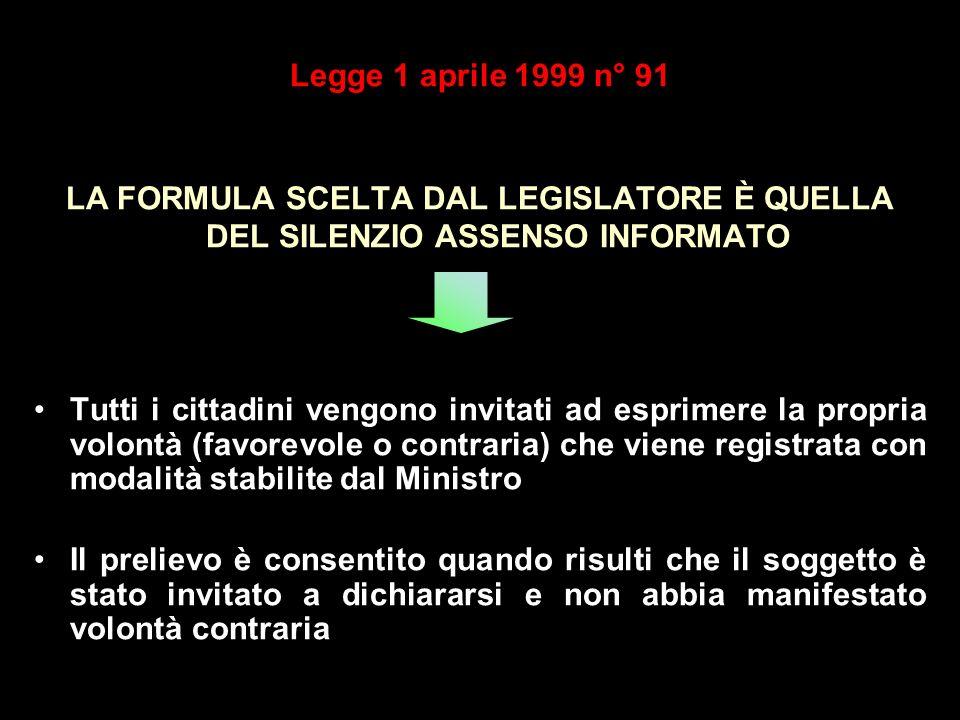 Legge 1 aprile 1999 n° 91 LA FORMULA SCELTA DAL LEGISLATORE È QUELLA DEL SILENZIO ASSENSO INFORMATO Tutti i cittadini vengono invitati ad esprimere la