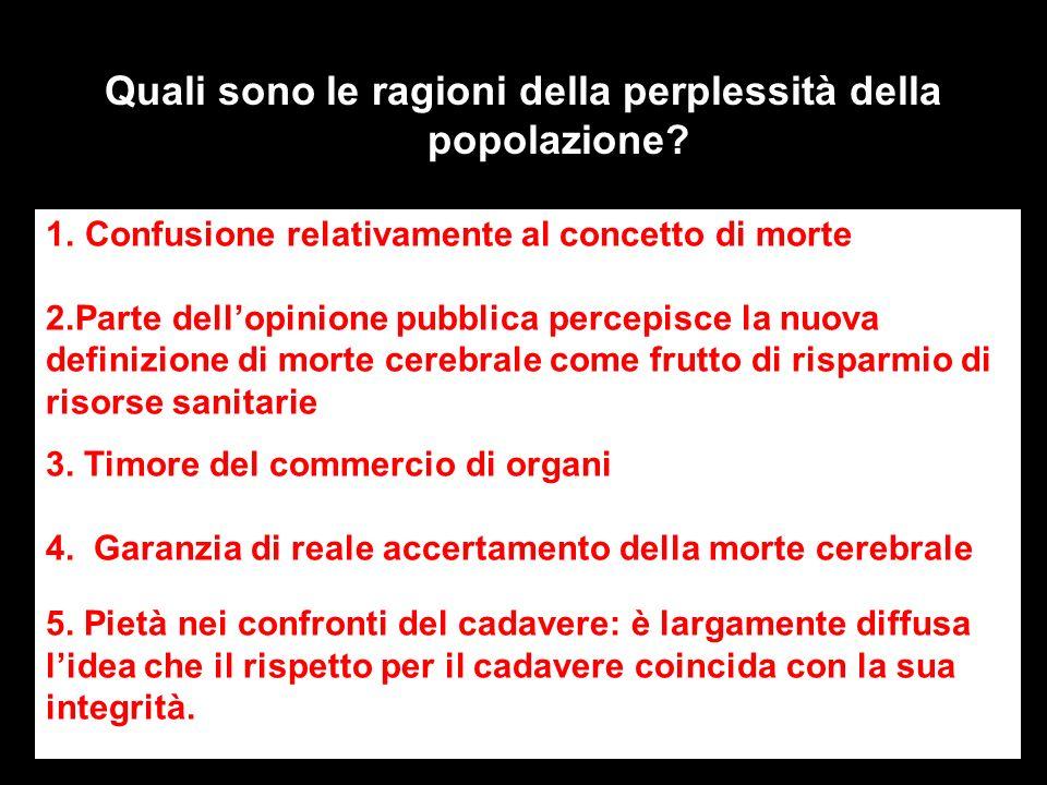 Quali sono le ragioni della perplessità della popolazione? 1.Confusione relativamente al concetto di morte 2.Parte dellopinione pubblica percepisce la
