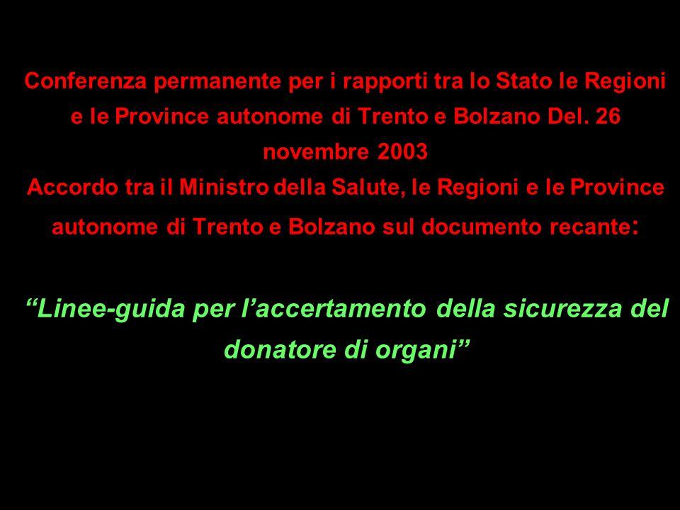 Conferenza permanente per i rapporti tra lo Stato le Regioni e le Province autonome di Trento e Bolzano Del. 26 novembre 2003 Accordo tra il Ministro
