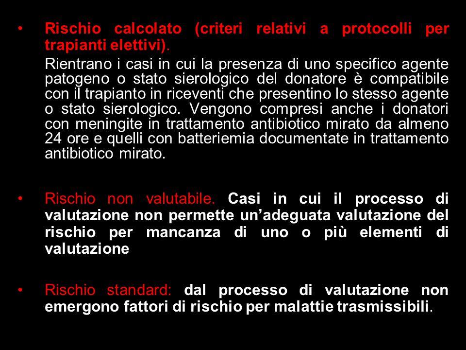 Rischio calcolato (criteri relativi a protocolli per trapianti elettivi). Rientrano i casi in cui la presenza di uno specifico agente patogeno o stato