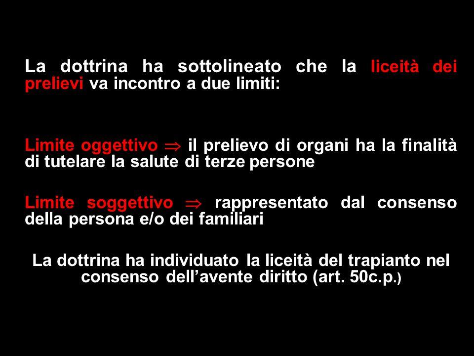 La dottrina ha sottolineato che la liceità dei prelievi va incontro a due limiti: Limite oggettivo il prelievo di organi ha la finalità di tutelare la