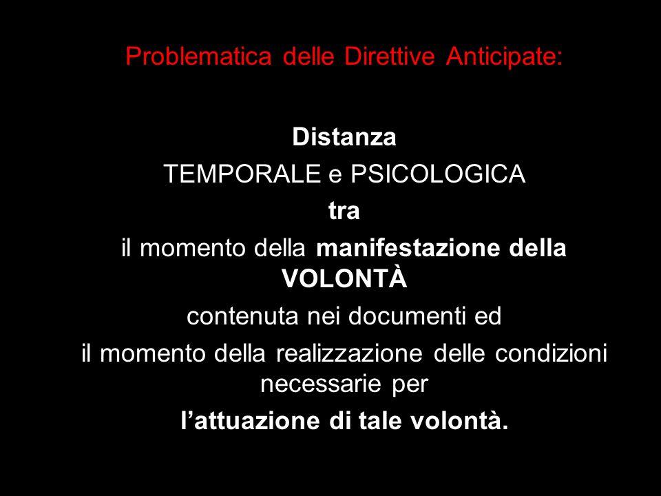 Problematica delle Direttive Anticipate: Distanza TEMPORALE e PSICOLOGICA tra il momento della manifestazione della VOLONTÀ contenuta nei documenti ed