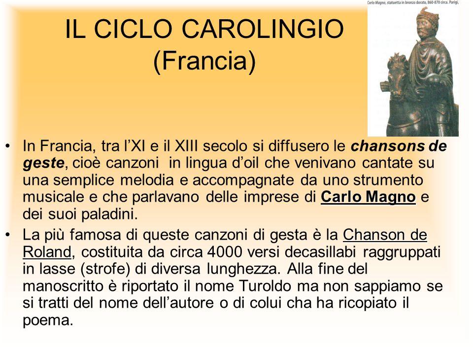 IL CICLO CAROLINGIO (Francia) Carlo MagnoIn Francia, tra lXI e il XIII secolo si diffusero le chansons de geste, cioè canzoni in lingua doil che veniv