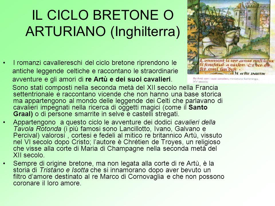 IL CICLO BRETONE O ARTURIANO (Inghilterra) I romanzi cavallereschi del ciclo bretone riprendono le antiche leggende celtiche e raccontano le straordin