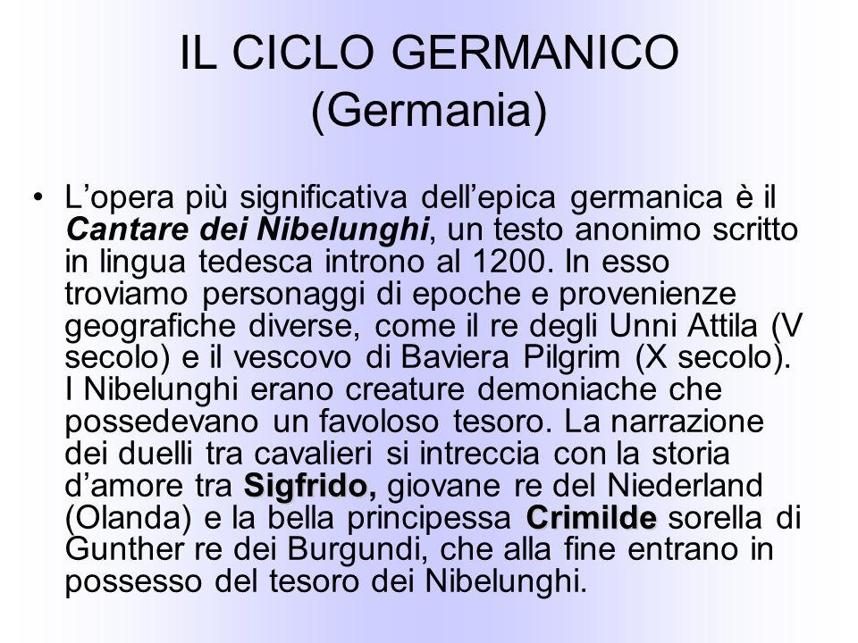 IL CICLO GERMANICO (Germania) Sigfrido CrimildeLopera più significativa dellepica germanica è il Cantare dei Nibelunghi, un testo anonimo scritto in lingua tedesca introno al 1200.