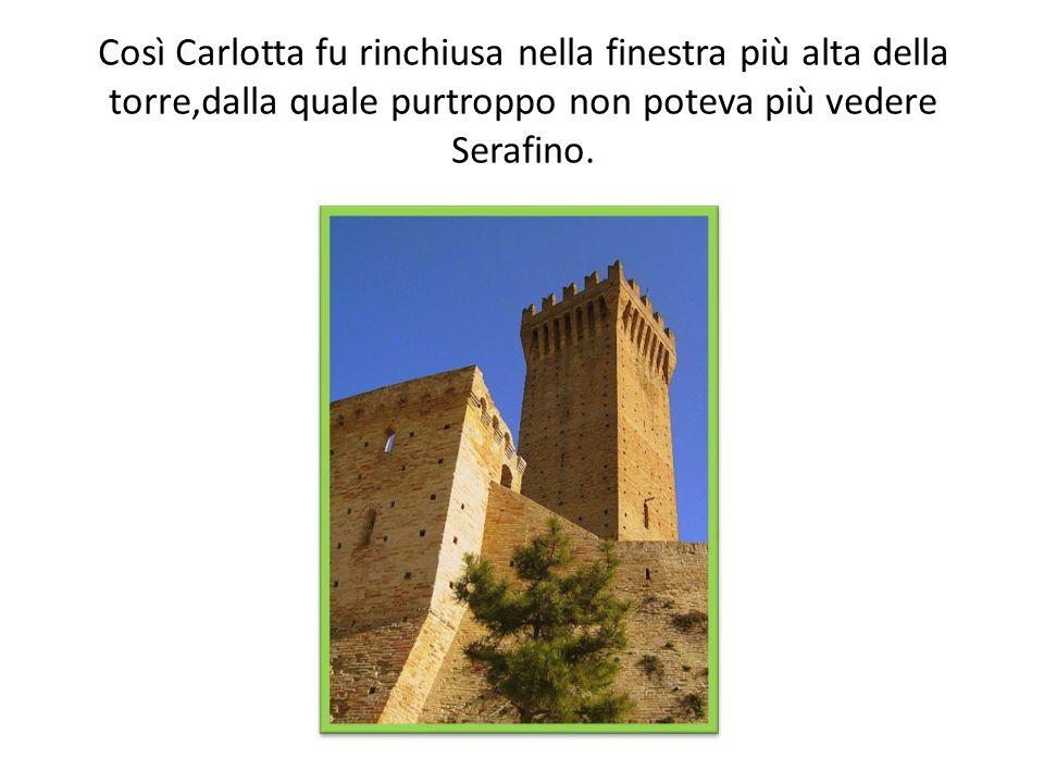 Così Carlotta fu rinchiusa nella finestra più alta della torre,dalla quale purtroppo non poteva più vedere Serafino.