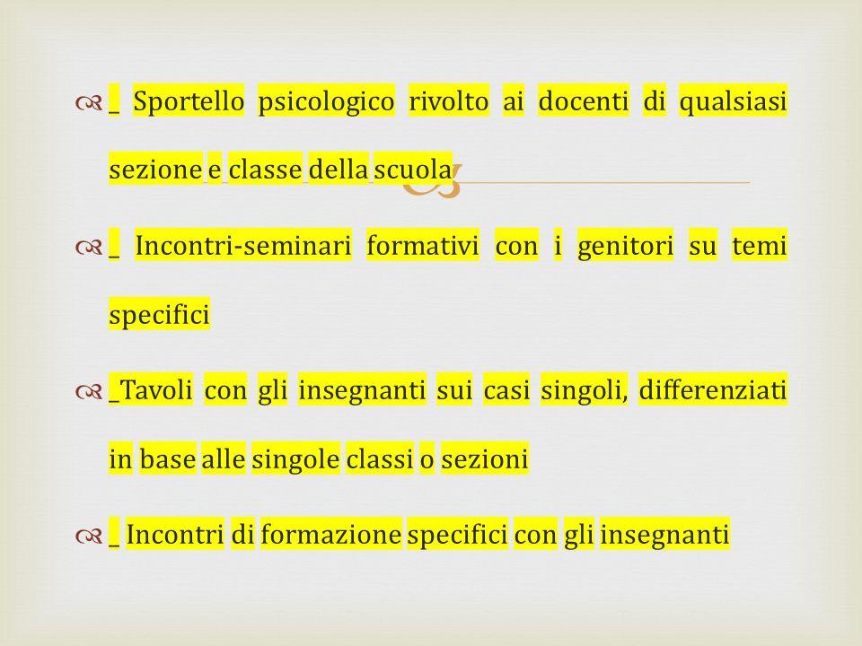 _ Sportello psicologico rivolto ai docenti di qualsiasi sezione e classe della scuola _ Incontri-seminari formativi con i genitori su temi specifici _
