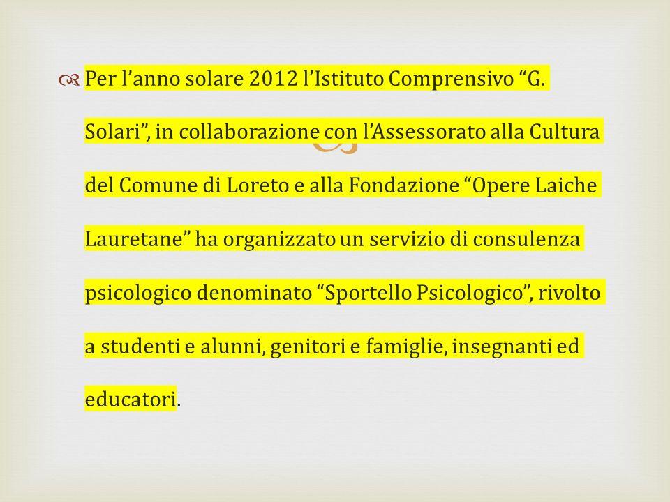 Per lanno solare 2012 lIstituto Comprensivo G. Solari, in collaborazione con lAssessorato alla Cultura del Comune di Loreto e alla Fondazione Opere La