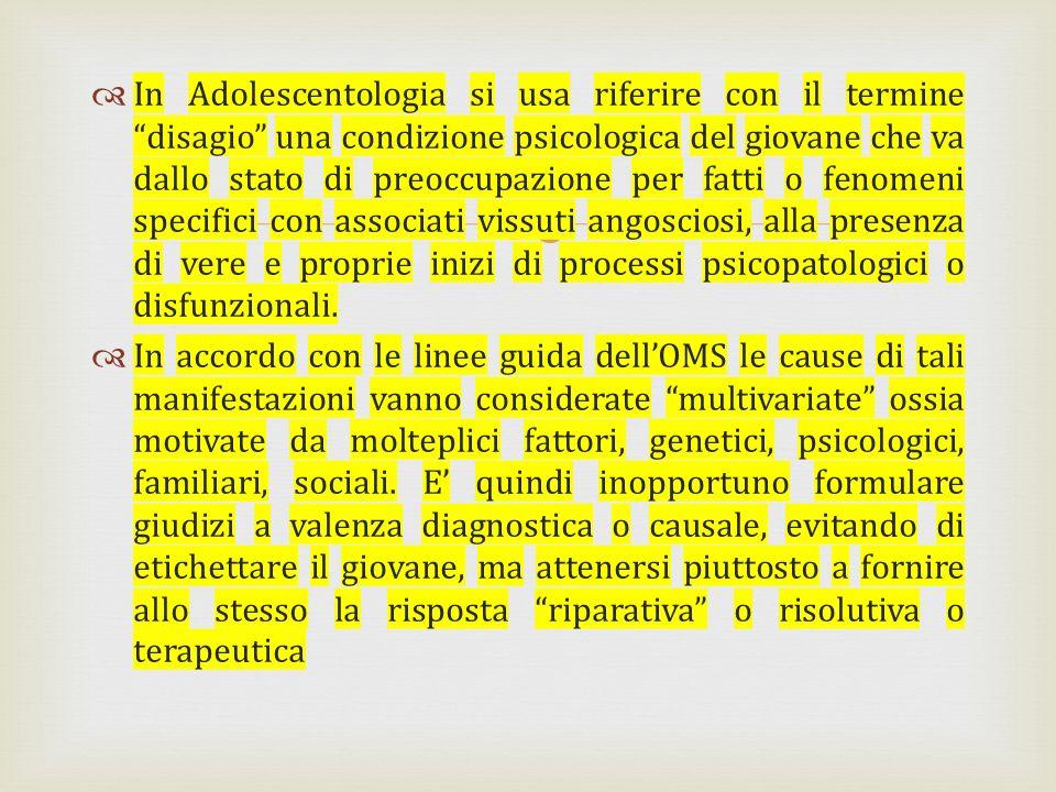 In Adolescentologia si usa riferire con il termine disagio una condizione psicologica del giovane che va dallo stato di preoccupazione per fatti o fen