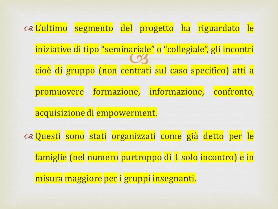 Lultimo segmento del progetto ha riguardato le iniziative di tipo seminariale o collegiale, gli incontri cioè di gruppo (non centrati sul caso specifi