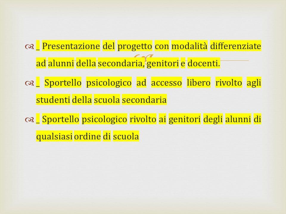 _ Presentazione del progetto con modalità differenziate ad alunni della secondaria, genitori e docenti. _ Sportello psicologico ad accesso libero rivo