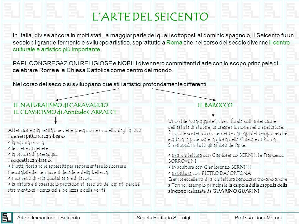Arte e Immagine: Il SeicentoScuola Paritaria S. LuigiProf.ssa Dora Meroni LARTE DEL SEICENTO In Italia, divisa ancora in molti stati, la maggior parte