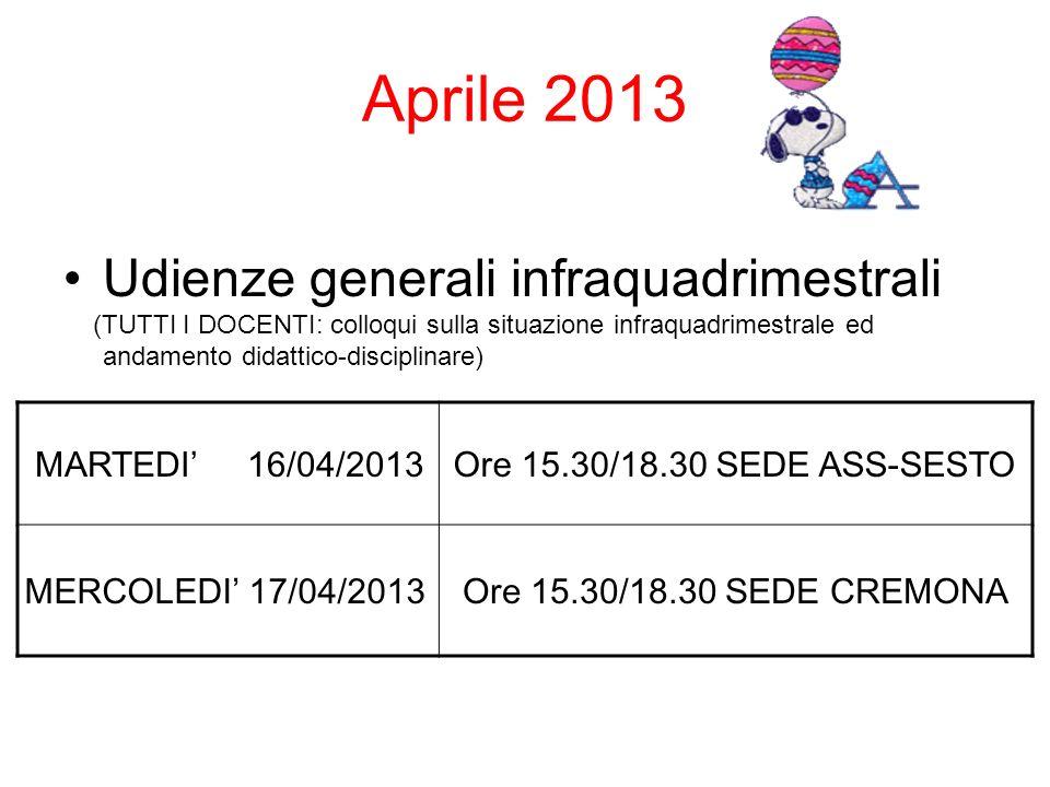 Aprile 2013 Udienze generali infraquadrimestrali (TUTTI I DOCENTI: colloqui sulla situazione infraquadrimestrale ed andamento didattico-disciplinare) MARTEDI 16/04/2013Ore 15.30/18.30 SEDE ASS-SESTO MERCOLEDI 17/04/2013Ore 15.30/18.30 SEDE CREMONA