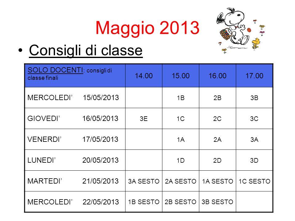 Maggio 2013 Consigli di classe SOLO DOCENTI : consigli di classe finali 14.0015.0016.0017.00 MERCOLEDI 15/05/2013 1B2B3B GIOVEDI 16/05/2013 3E1C2C3C VENERDI 17/05/2013 1A2A3A LUNEDI 20/05/2013 1D2D3D MARTEDI 21/05/2013 3A SESTO2A SESTO1A SESTO1C SESTO MERCOLEDI 22/05/2013 1B SESTO2B SESTO3B SESTO