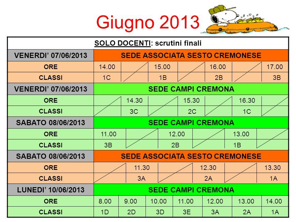 Giugno 2013 SOLO DOCENTI: scrutini finali VENERDI 07/06/2013SEDE ASSOCIATA SESTO CREMONESE ORE 14.00 15.00 16.00 17.00 CLASSI 1C 1B 2B 3B VENERDI 07/06/2013SEDE CAMPI CREMONA ORE 14.30 15.30 16.30 CLASSI 3C 2C 1C SABATO 08/06/2013SEDE CAMPI CREMONA ORE 11.00 12.00 13.00 CLASSI 3B 2B 1B SABATO 08/06/2013SEDE ASSOCIATA SESTO CREMONESE ORE 11.30 12.30 13.30 CLASSI 3A 2A 1A LUNEDI 10/06/2013SEDE CAMPI CREMONA ORE 8.00 9.00 10.00 11.00 12.00 13.00 14.00 CLASSI 1D 2D 3D 3E 3A 2A 1A