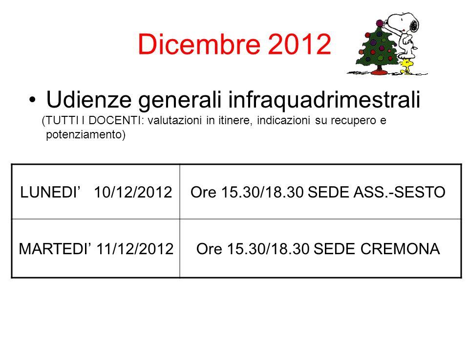 Dicembre 2012 Udienze generali infraquadrimestrali (TUTTI I DOCENTI: valutazioni in itinere, indicazioni su recupero e potenziamento) LUNEDI 10/12/2012Ore 15.30/18.30 SEDE ASS.-SESTO MARTEDI 11/12/2012Ore 15.30/18.30 SEDE CREMONA