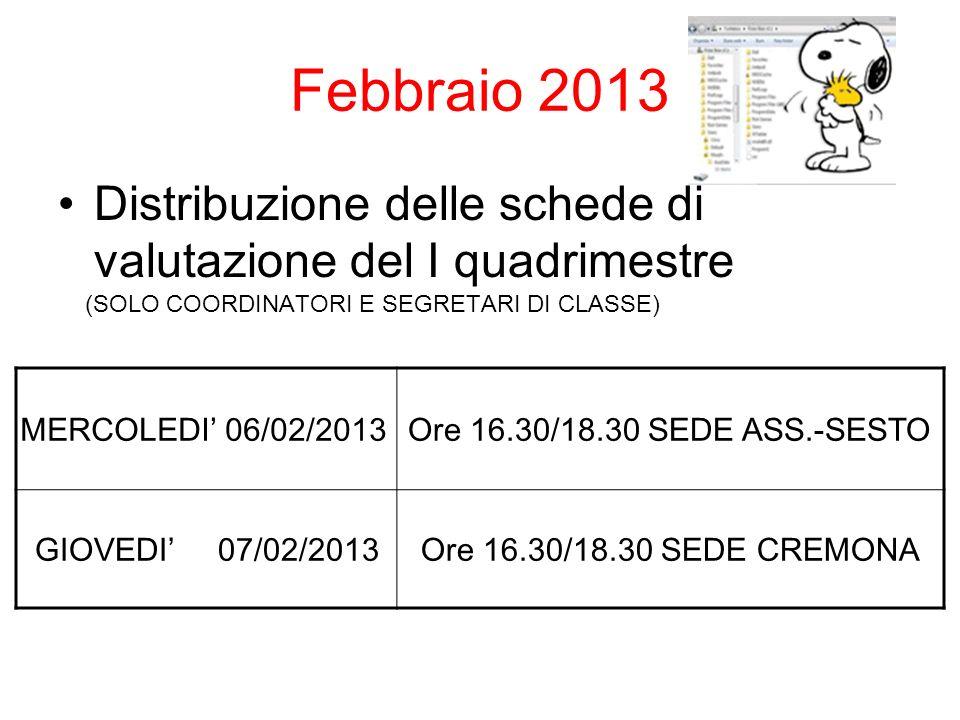Febbraio 2013 Distribuzione delle schede di valutazione del I quadrimestre (SOLO COORDINATORI E SEGRETARI DI CLASSE) MERCOLEDI 06/02/2013Ore 16.30/18.30 SEDE ASS.-SESTO GIOVEDI 07/02/2013Ore 16.30/18.30 SEDE CREMONA