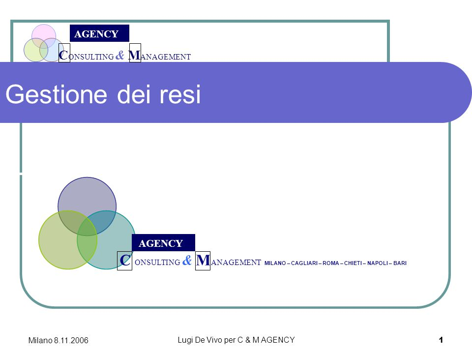 C ONSULTING & M ANAGEMENT AGENCY Milano 8.11.2006 Lugi De Vivo per C & M AGENCY 1 Gestione dei resi C ONSULTING & M ANAGEMENT MILANO – CAGLIARI – ROMA – CHIETI – NAPOLI – BARI AGENCY