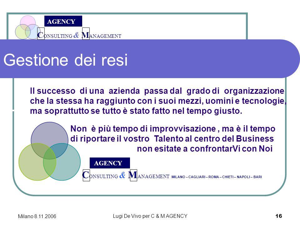 C ONSULTING & M ANAGEMENT AGENCY Milano 8.11.2006 Lugi De Vivo per C & M AGENCY 16 Gestione dei resi C ONSULTING & M ANAGEMENT MILANO – CAGLIARI – ROMA – CHIETI – NAPOLI – BARI AGENCY Il successo di una azienda passa dal grado di organizzazione che la stessa ha raggiunto con i suoi mezzi, uomini e tecnologie, ma soprattutto se tutto è stato fatto nel tempo giusto.