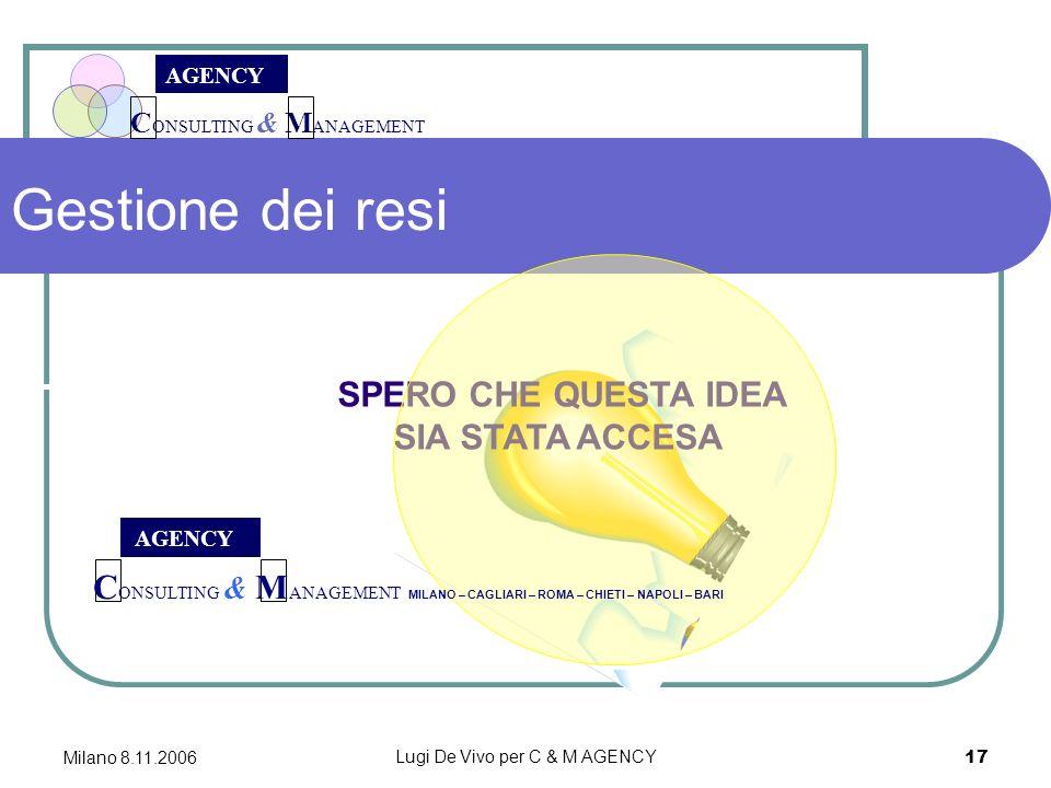 C ONSULTING & M ANAGEMENT AGENCY Milano 8.11.2006 Lugi De Vivo per C & M AGENCY 17 Gestione dei resi SPERO CHE QUESTA IDEA SIA STATA ACCESA AGENCY C ONSULTING & M ANAGEMENT MILANO – CAGLIARI – ROMA – CHIETI – NAPOLI – BARI