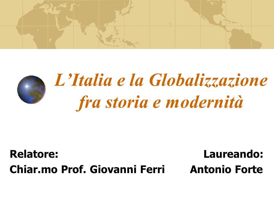 Obiettivo della Tesi Esaminare linterazione fra leconomia italiana e la Globalizzazione in due periodi storici: 1861-1914 1983-2005 Evidenziare le analogie dello sviluppo economico italiano riscontrate nei due periodi.