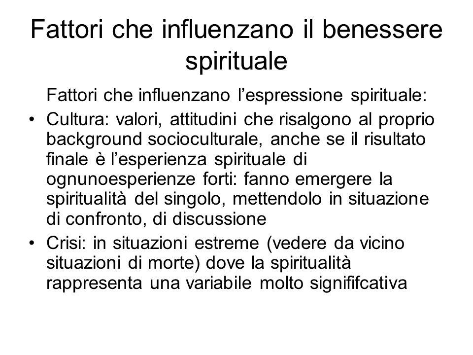 Fattori che influenzano il benessere spirituale Fattori che influenzano lespressione spirituale: Cultura: valori, attitudini che risalgono al proprio