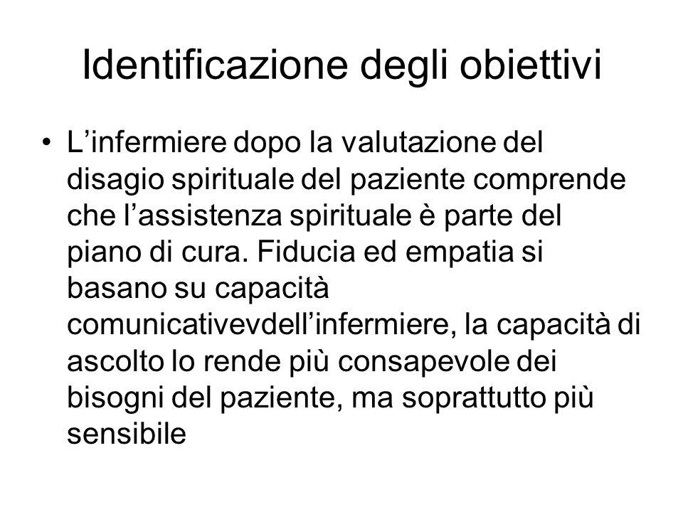 Identificazione degli obiettivi Linfermiere dopo la valutazione del disagio spirituale del paziente comprende che lassistenza spirituale è parte del p