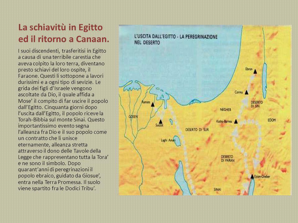 La schiavitù in Egitto ed il ritorno a Canaan. I suoi discendenti, trasferitisi in Egitto a causa di una terribile carestia che aveva colpito la loro