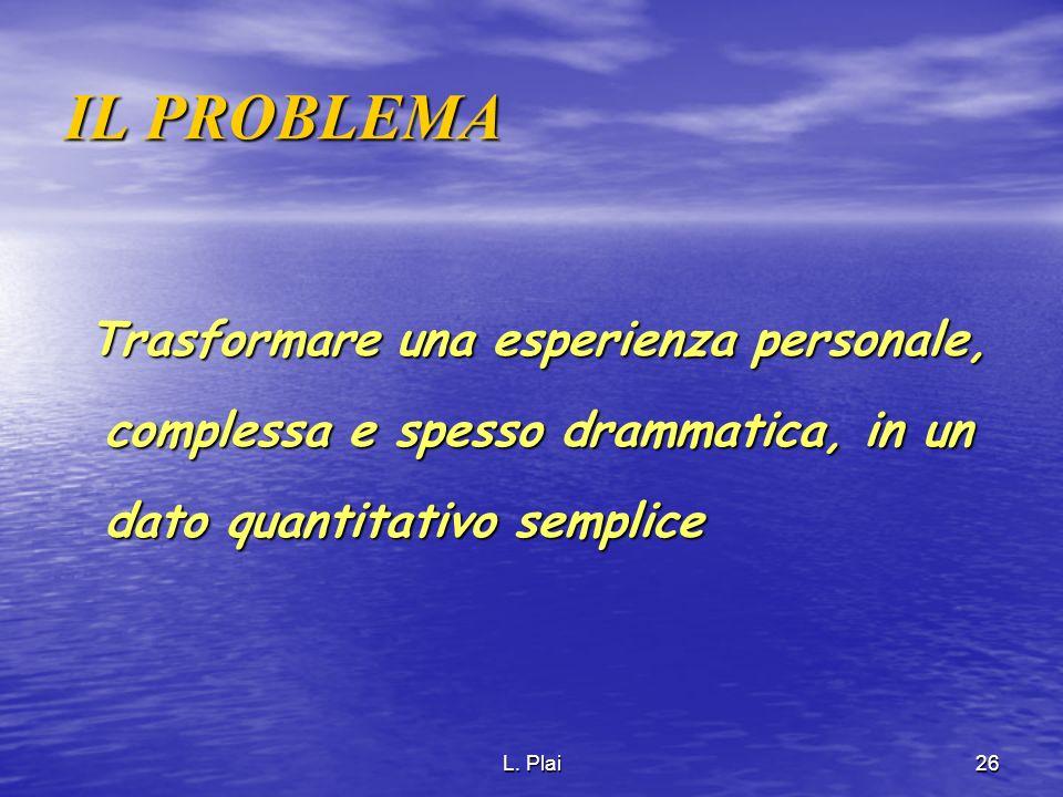 L. Plai26 IL PROBLEMA Trasformare una esperienza personale, complessa e spesso drammatica, in un dato quantitativo semplice