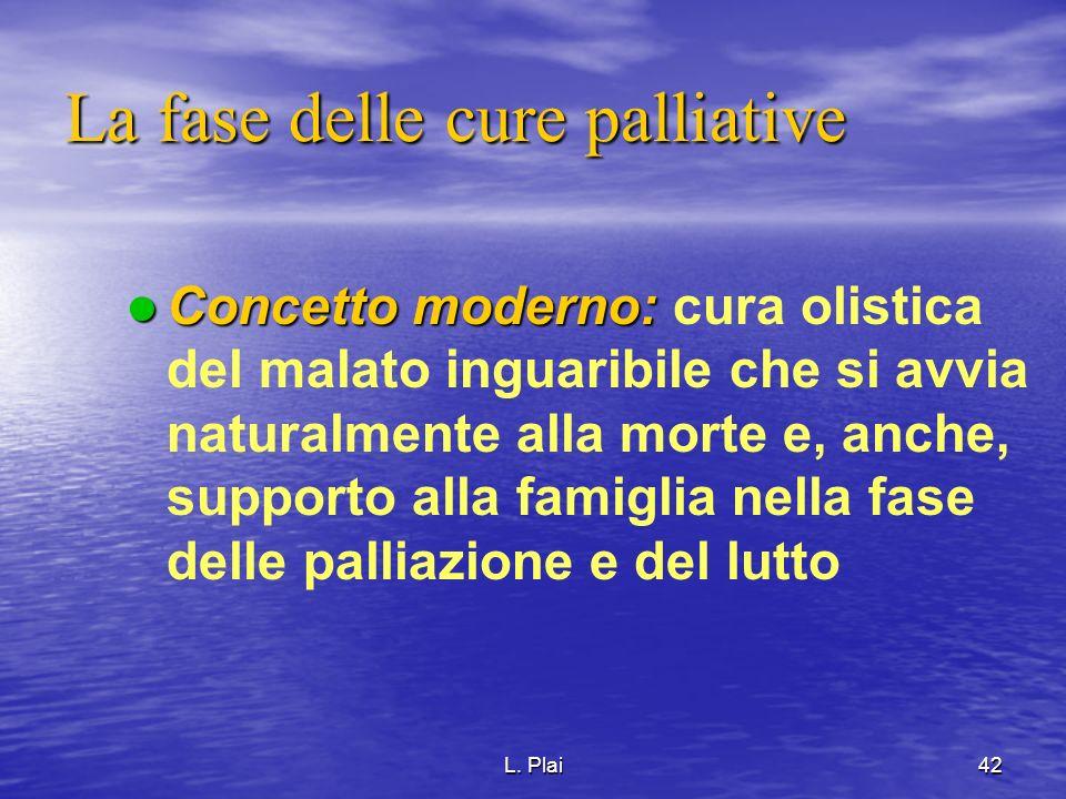 L. Plai42 La fase delle cure palliative Concetto moderno: Concetto moderno: cura olistica del malato inguaribile che si avvia naturalmente alla morte
