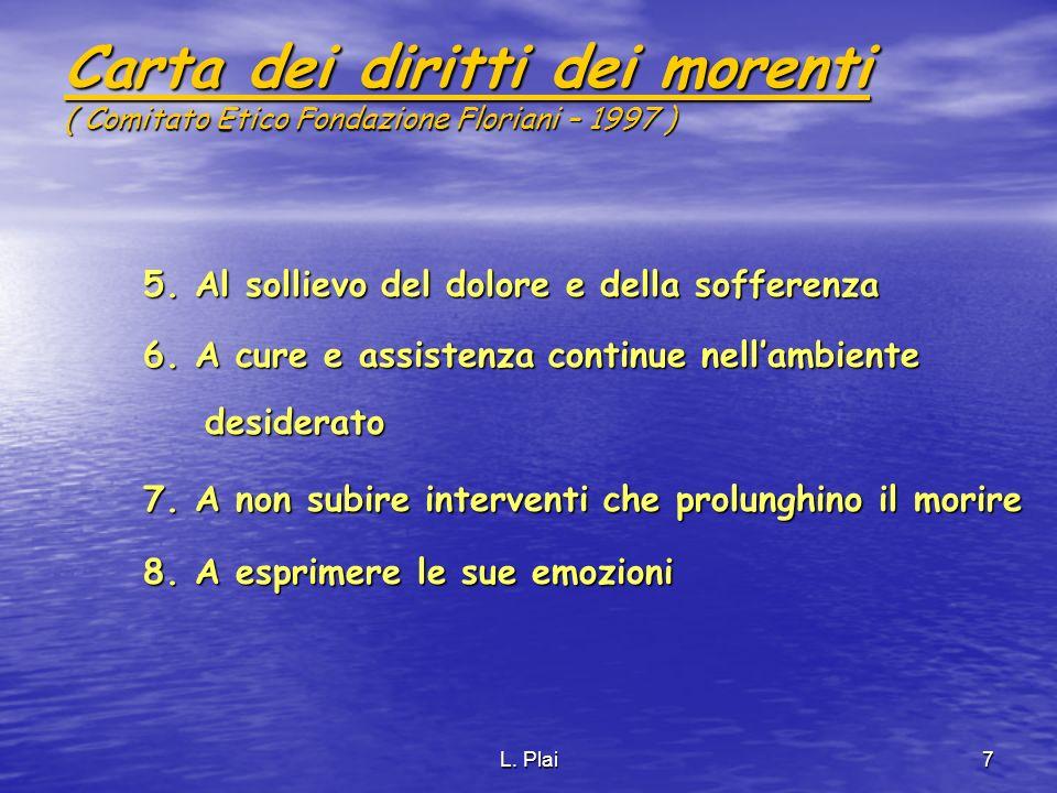 L. Plai7 Carta dei diritti dei morenti ( Comitato Etico Fondazione Floriani – 1997 ) 5. Al sollievo del dolore e della sofferenza 6. A cure e assisten