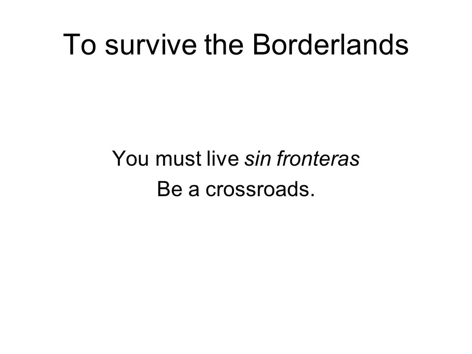 To survive the Borderlands You must live sin fronteras Be a crossroads.