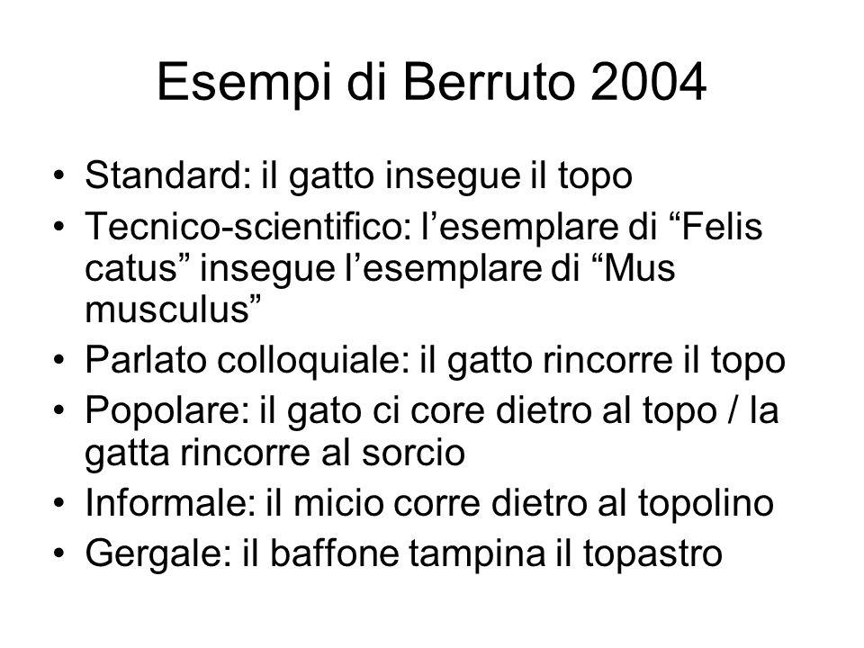 Esempi di Berruto 2004 Standard: il gatto insegue il topo Tecnico-scientifico: lesemplare di Felis catus insegue lesemplare di Mus musculus Parlato co