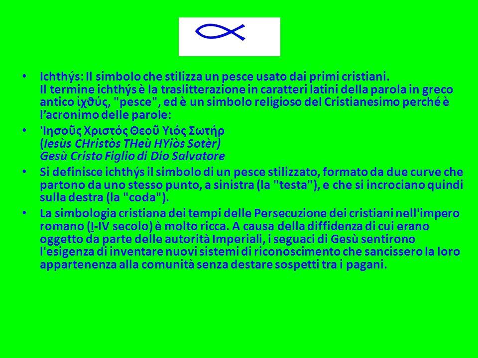 Ichthýs: Il simbolo che stilizza un pesce usato dai primi cristiani. Il termine ichthýs è la traslitterazione in caratteri latini della parola in grec
