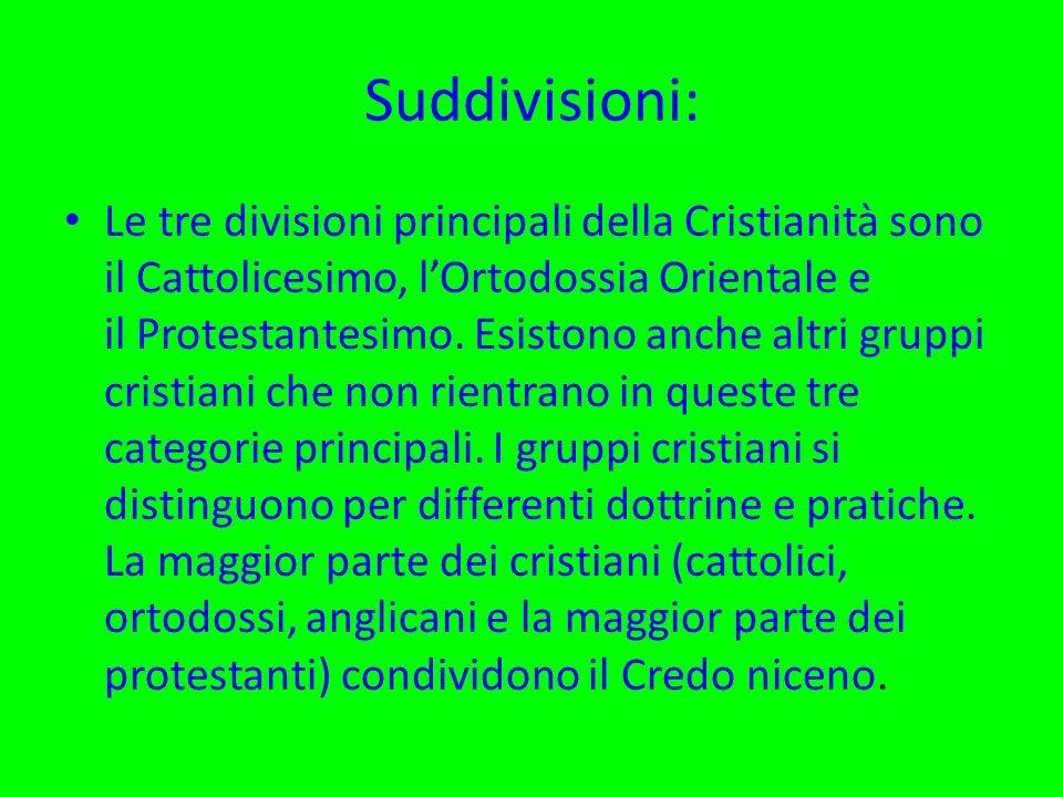 Suddivisioni: Le tre divisioni principali della Cristianità sono il Cattolicesimo, lOrtodossia Orientale e il Protestantesimo. Esistono anche altri gr