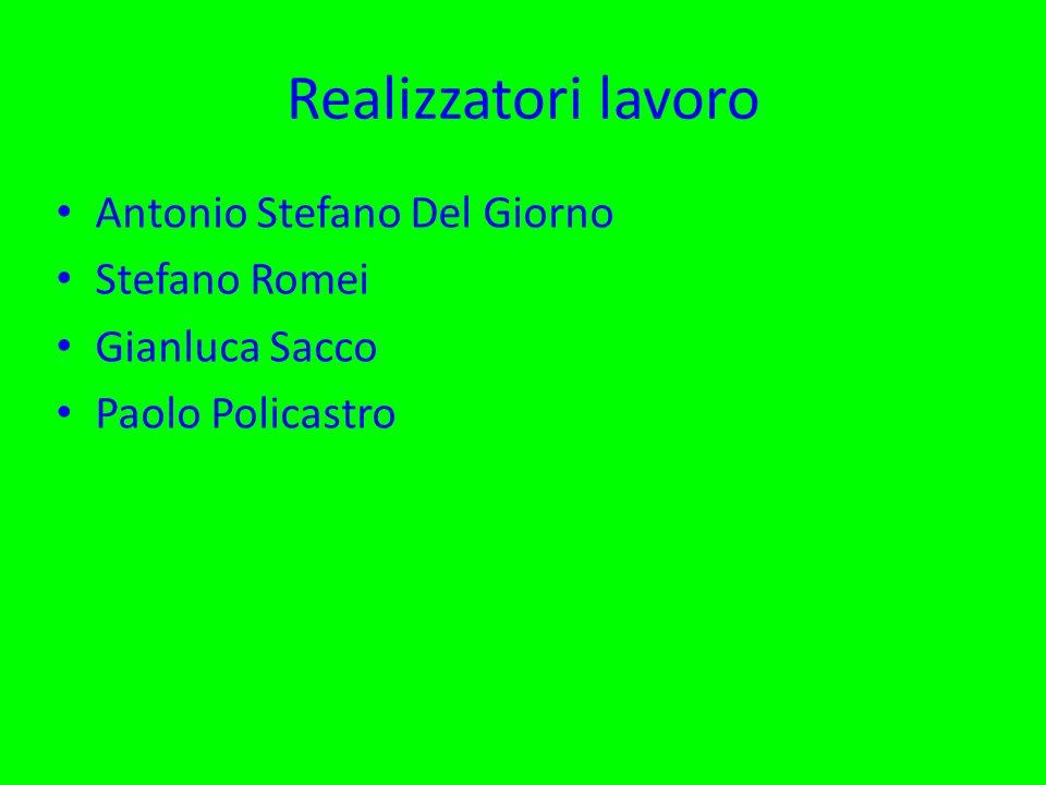 Realizzatori lavoro Antonio Stefano Del Giorno Stefano Romei Gianluca Sacco Paolo Policastro