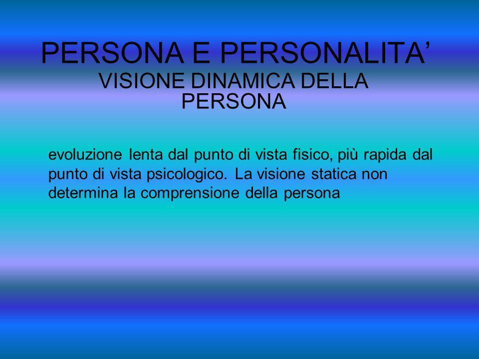PERSONA E PERSONALITA VISIONE DINAMICA DELLA PERSONA evoluzione lenta dal punto di vista fisico, più rapida dal punto di vista psicologico. La visione