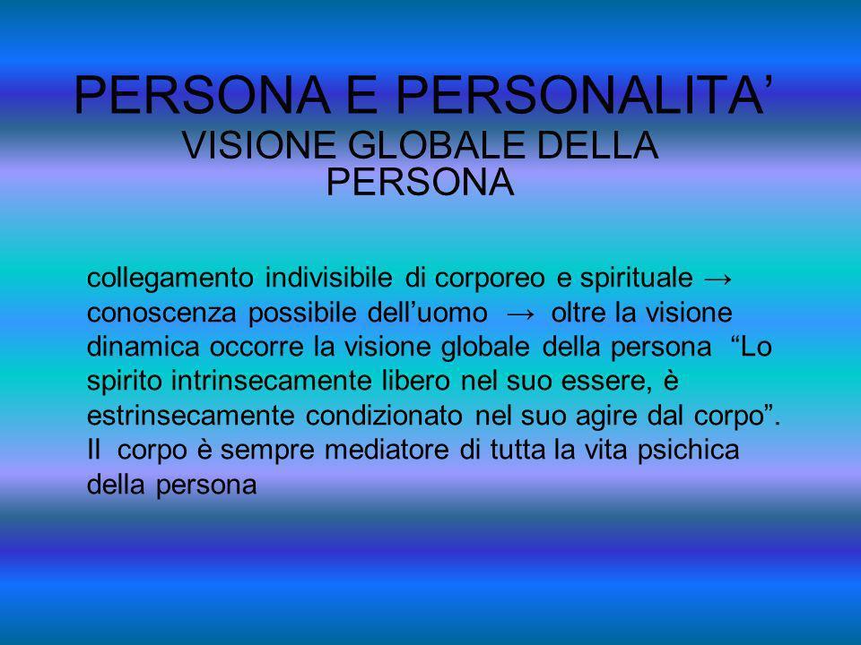PERSONA E PERSONALITA VISIONE GLOBALE DELLA PERSONA collegamento indivisibile di corporeo e spirituale conoscenza possibile delluomo oltre la visione