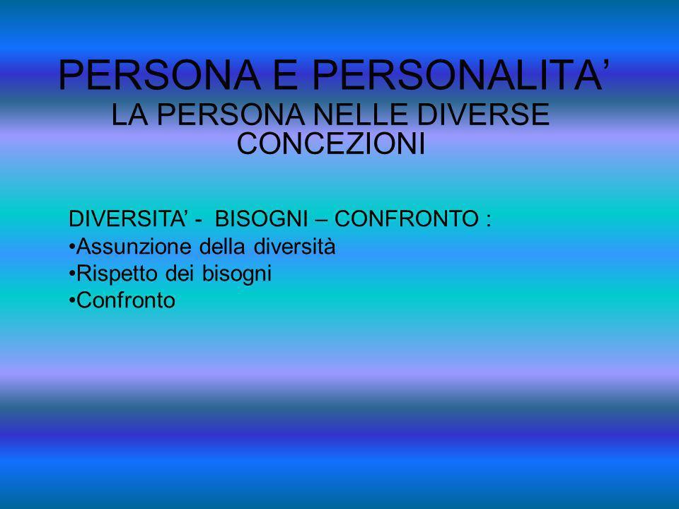 PERSONA E PERSONALITA LA PERSONA NELLE DIVERSE CONCEZIONI DIVERSITA - BISOGNI – CONFRONTO : Assunzione della diversità Rispetto dei bisogni Confronto