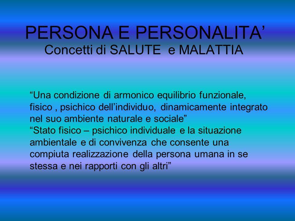 PERSONA E PERSONALITA Concetti di SALUTE e MALATTIA Una condizione di armonico equilibrio funzionale, fisico, psichico dellindividuo, dinamicamente in