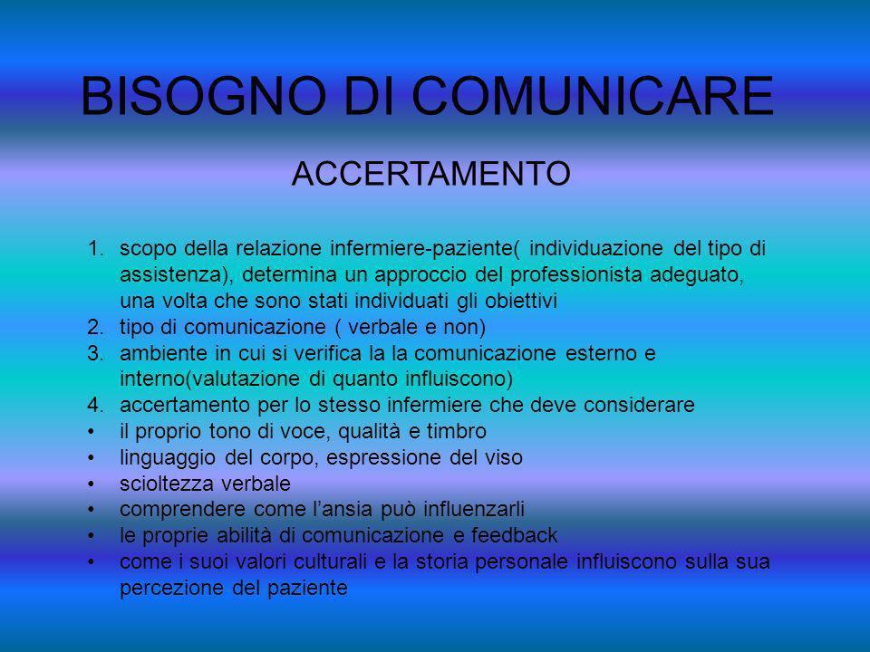 BISOGNO DI COMUNICARE ACCERTAMENTO 1.scopo della relazione infermiere-paziente( individuazione del tipo di assistenza), determina un approccio del pro